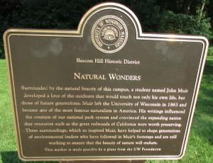 John Muir marker bascom Hill Historic District