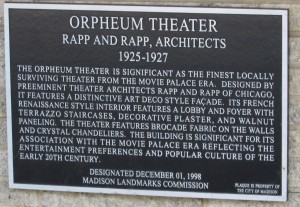 Orpheum plaque