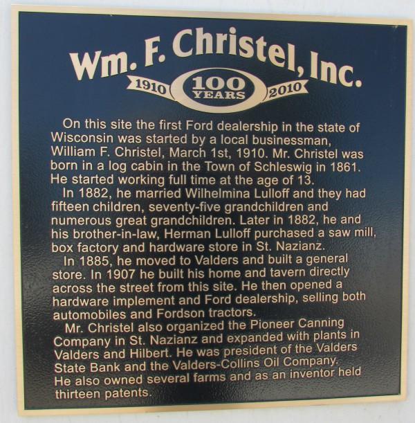 William Christel plaque in Valders