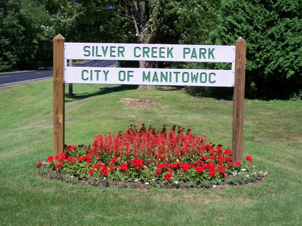 Silver Creek Park sign in Manitowoc