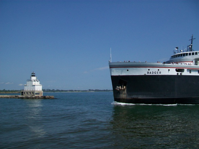Badger ferry and Lighthouse in Manitowoc