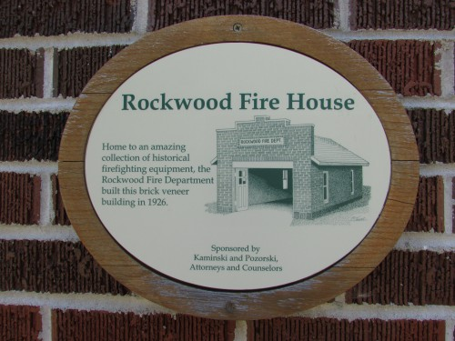 Rockwood Fire House plaque  at Pinecrest in Manitowoc