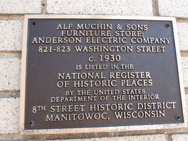 Alf Muchin and Sons building plaque in Manitowoc