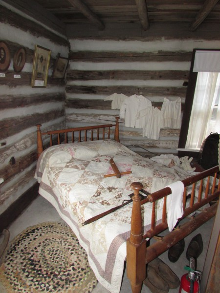 Rope bed in Skare cabin  at McFarland Museum
