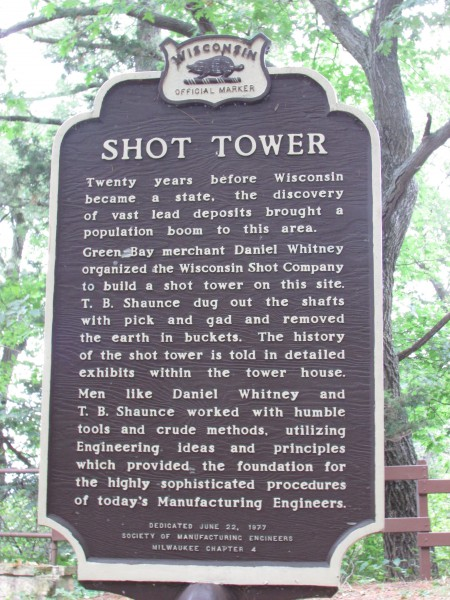 Shot Tower marker at Tower Hill