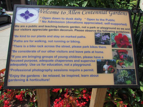 Allen Centennial Gardens entry sign