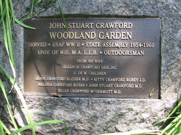 Woodland Garden plaque Allen Gardens