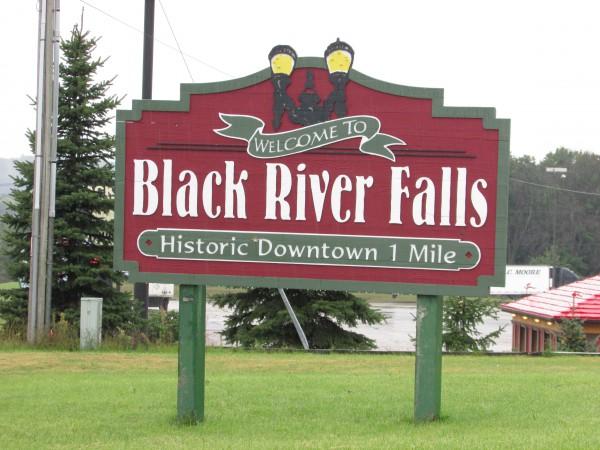 Black River Falls downtown sign