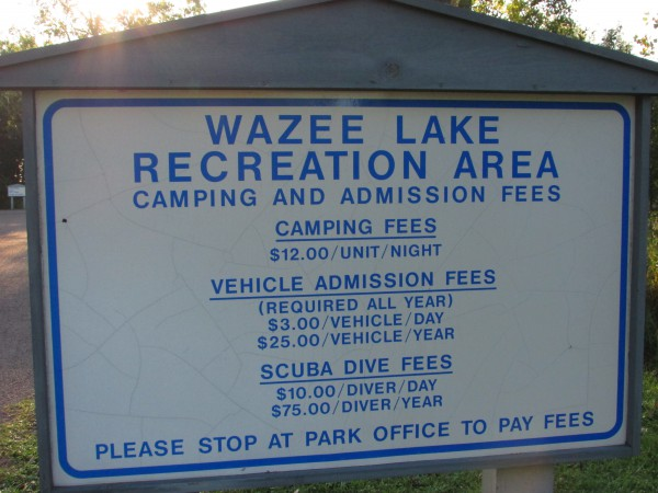 Lake Wazee Fee sign at Black River Falls