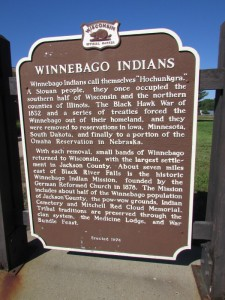 Winnebago Indian marker in Jackson County