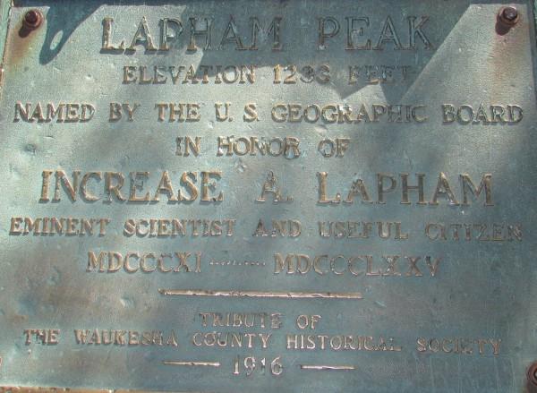 Lapham Peak plaque