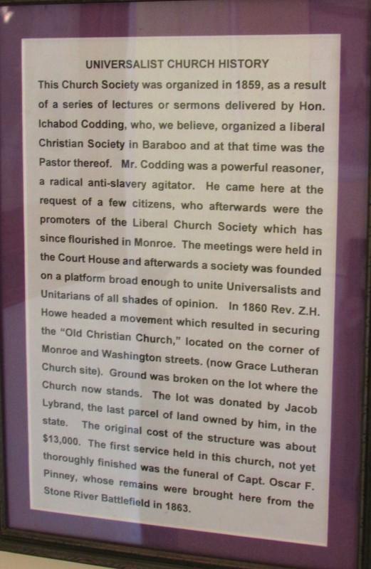 Monroe Universalist Church history