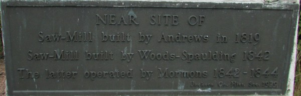 Sawmill plaque in Black River Falls