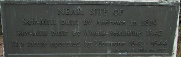 Sawmill plaque in Black River Falls