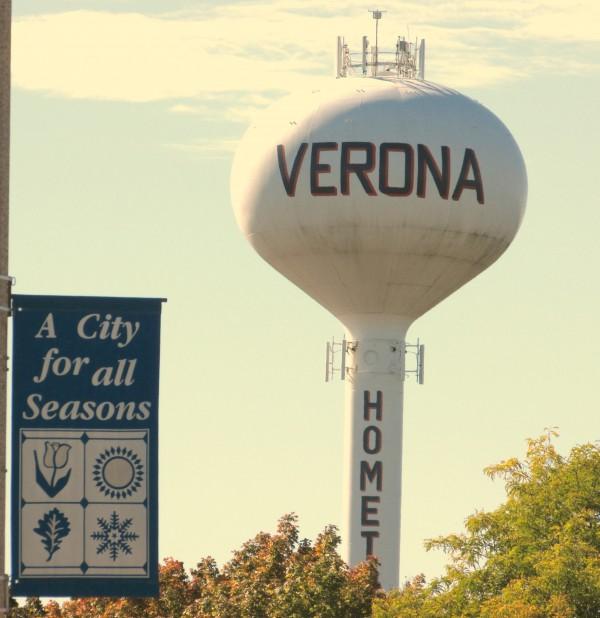 Verona Watertower and banner