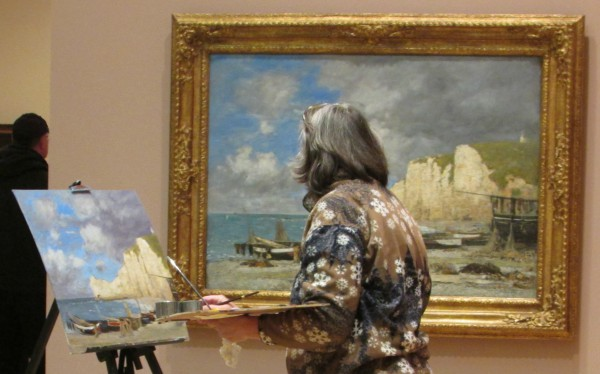 Artist painting at the Chazen