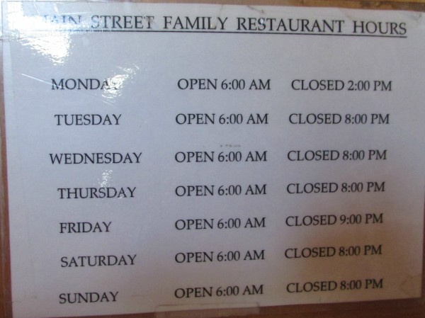 Main St. Family Restaurant hours in Paymyra