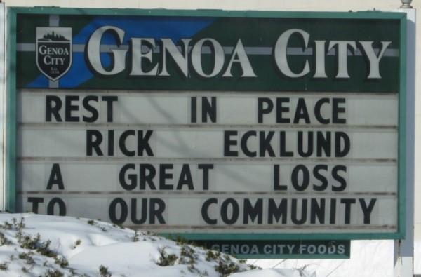 Rick Eklund sign in Genoa City