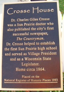Crosse House plaque