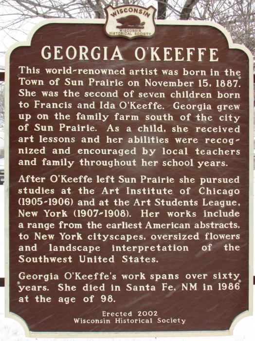 Georgia O'Keeffe marker in Sun Prairie