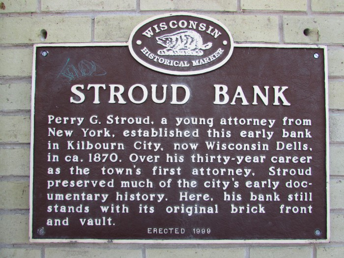 Stroud Bank plaque in the Dells