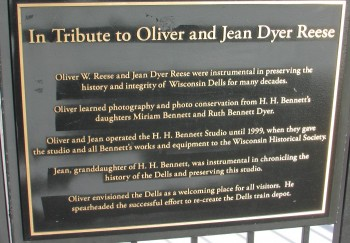 Oliver and Jean Dyer Reese plaque in the Dells