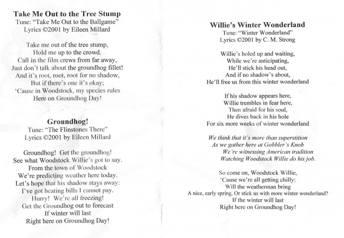 Groundhog Day songs in Woodstock