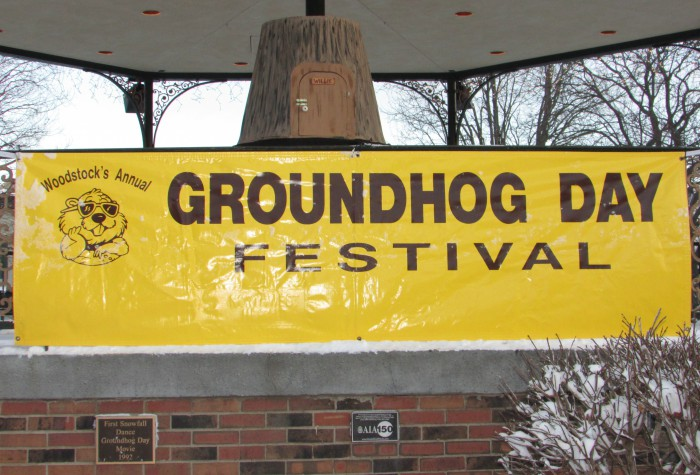 Groundhog Day Banner and Stump in Woodstock