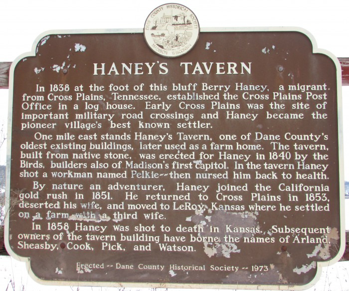 Haney's Tavern Marker in Cross Plains