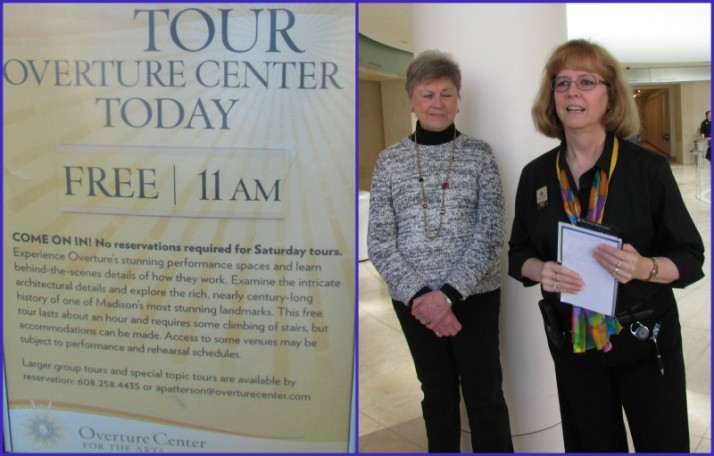 Tour guides and sign at Overture Center