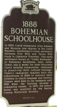Bohemian Schoolhouse marker in Windpoint