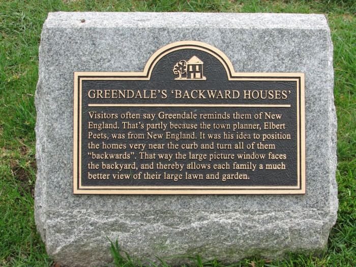 Backward Houses of Greendale plaque