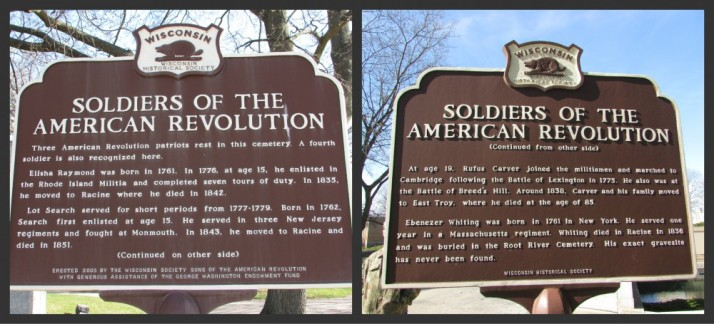 Revolutionary War Solder marker at Mound Cemetery in Racine