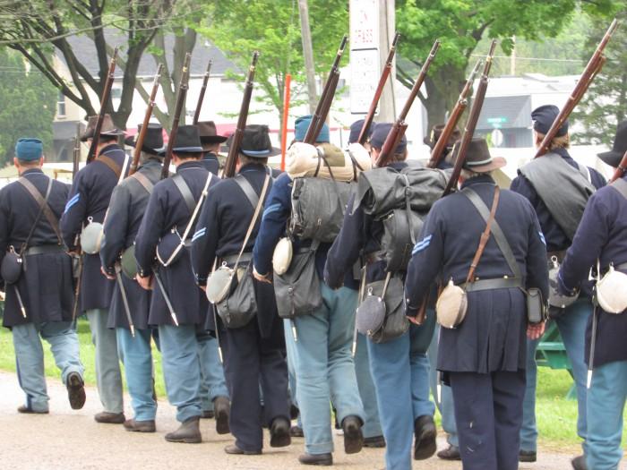 Civil War soldiers march