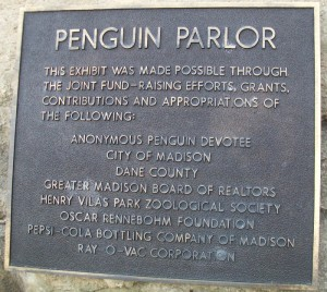 Penguin Parlor plaque at Vilas