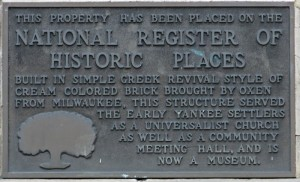 Plaque on Stoughton Historical museum
