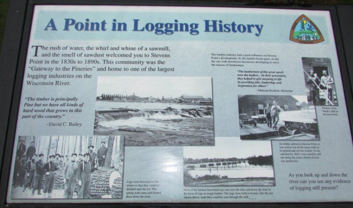 A Point in Logging History sign in Stevens Point