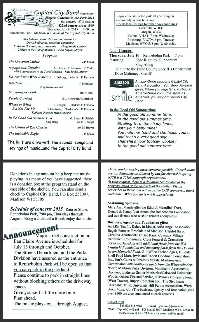 Capitol City Band program 7-9-15