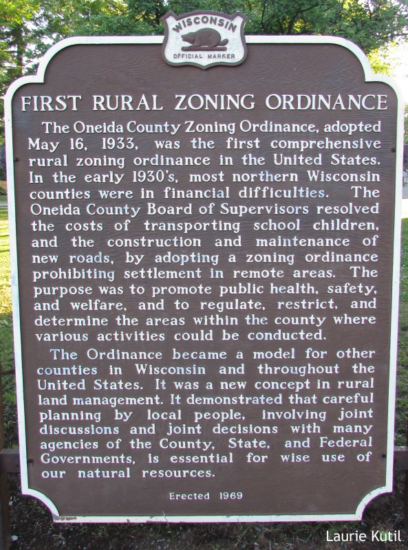 First Rural Zoning Ordinance Marker In Rhinelander WM