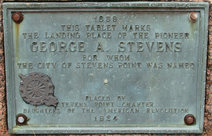 George Stevens Plaque in Stevens Point