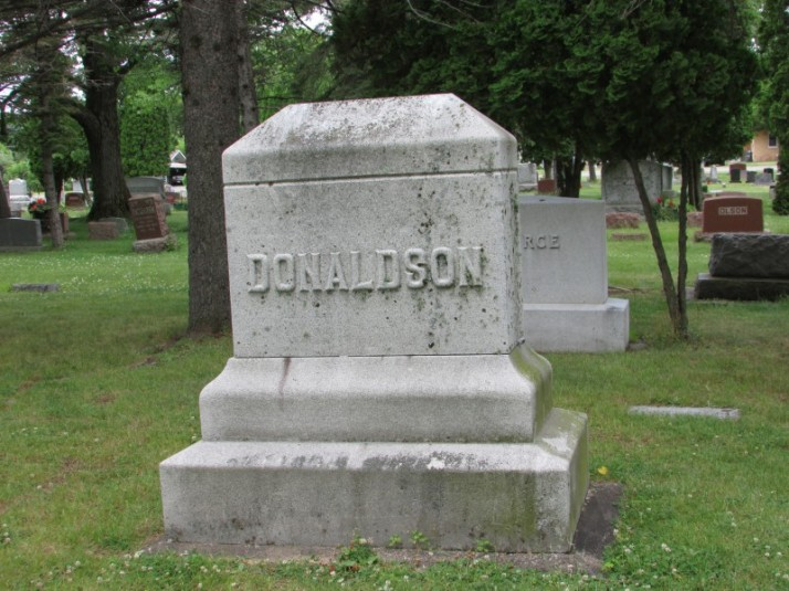 Donaldson monument at Forest Home Cemetery in Rhinelander