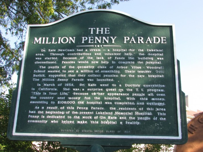 The Million Penny Parade marker in Woodruff