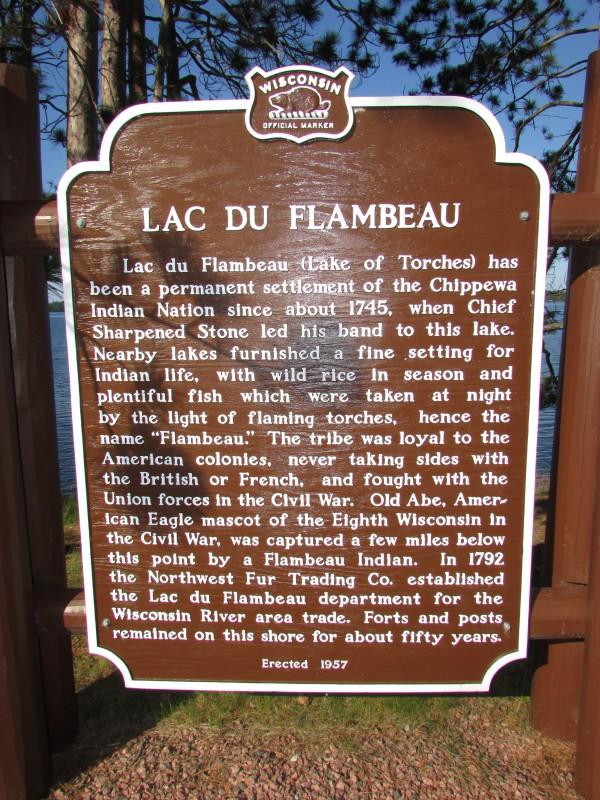 Lac du Flambeau historic marker