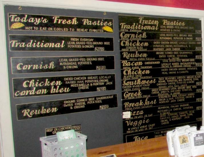 Joe's Pasty Shop Menu in Rhinelander