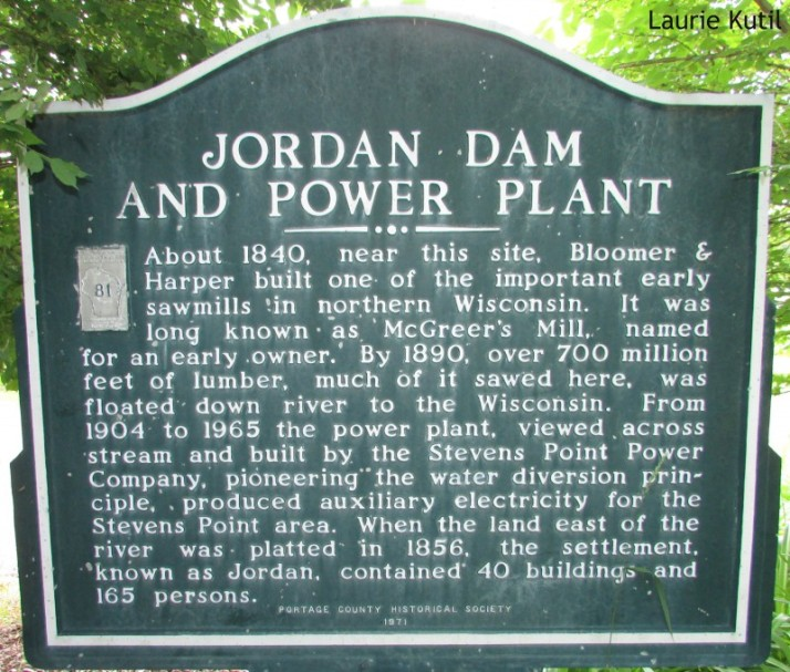 Jordam dam and power Plant marker in Stevens Point WM