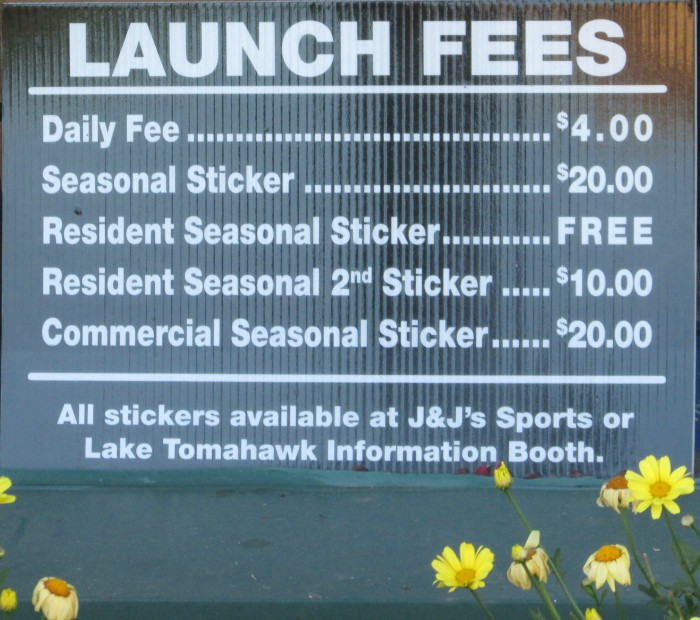 Lake Tomahawk Launch Fees