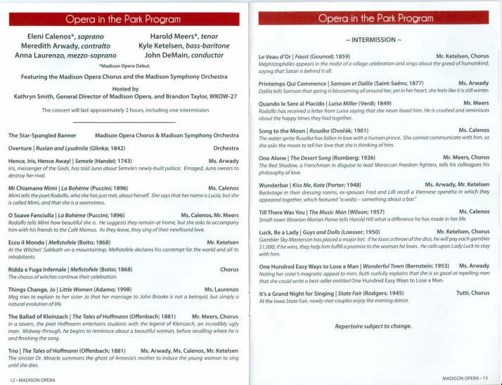 Opera in the Park Show Program