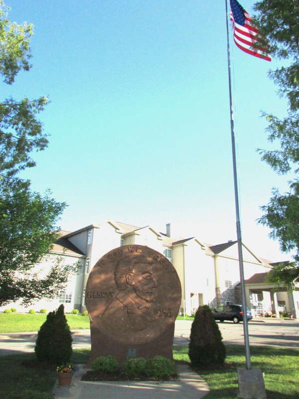 Penny and flagpole in Woodruff