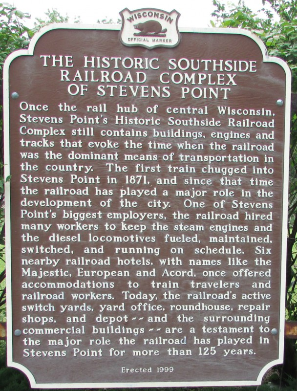 Southside Railroad Complex Marker in Stevens Point