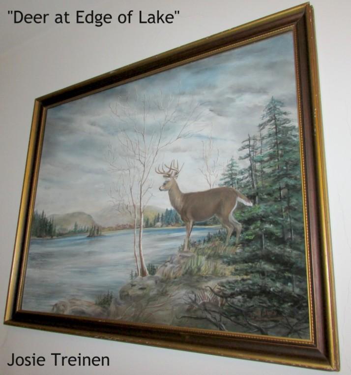 Deer at Edge of Lake Josie Treinen